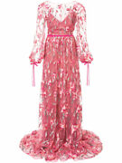 1095 New Marchesa Notte Lace Embroidered Maxi Dress Coral Pink Gown Dress 2