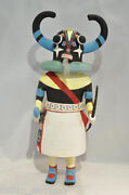 17 Ht Hopi Ahote Horned Kachina C.1950-60 In Hand-carved Cottonwood Root