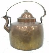 Early Copper Gooseneck Tea Kettle Hand Hammered And Dovetailed W/ Strap Handle