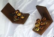 Vintage Gold Amber Resin Glass Grapes Bookends Book Ends Wood 7 1/8 Tall 1970and039s