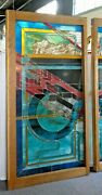 Leaded Stained Glass Window Or Door Panel Geometric Multi-color Design 42 X 80andrdquo