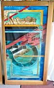 """Leaded Stained Glass Window Or Door Panel Geometric Multi-color Design 42 X 80"""""""
