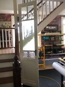 Antique Etched And Wheel Cut Glass Doors Pair. Monumental Entry 28 X 110 Each.