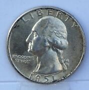 1951 D Bu Washington Silver Quarter 01 Shipping On 1st Coin Only