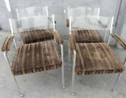 Set Of 4 Mid Century Lucite And Chrome Velour Covered Arm Chairs