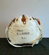275 Polo Womenand039s White Canvas Drawstring Leather Trim Shoulder Bag