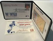 Mickey Mantle Commemorative Gold Stamp 1996 1997 St Vincent And The Grenadines Coa