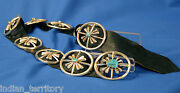 Large 10-pc Navajo Sand-cast Silver Concha Belt With High Grade Turquoise Stones