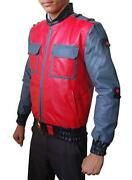 Back To The Future 2 Movie 2015 Marty Mcfly Bomber Faux Leather Red/grey Jacket