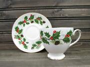 Noel By Royal Grafton Cup And Saucer Set Holly And Berries Gold Trim