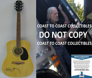 Willie Nelson Country Music Legend Autographed Acoustic Guitar Coa Proof Beckett