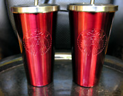 Set Of 2 New Starbucks 2012 Red Stainless Coldcup Tumblers W/ Rare Metal Straws