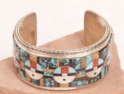 Zuni Silver And Inlaid Sunface Bracelet By Gilbert Calavaza Fits 7 To 7 1/2 Wrist