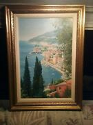 William Nelson 20th Century Original Oil Painting On Board French Riviera 83