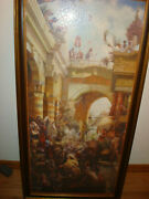Vintage Jesus Easter Palm Sunday Religious Puzzle Pictures Under Glass Frame