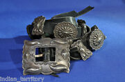 Antique Navajo Silver Concho Belt C.1950 Fits All Sizes 2 1/2 Buckle