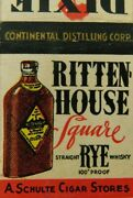 Ritten House Square Straight Rye Whiskey 100 Proof Vintage Matchbook Cover