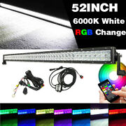 52 Inch 300w 5d Rgb Led Light Bar Offroad Driving Combo Music Bluetooth + Wiring