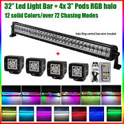 32 Inch Off Road Led Light Bar + 4x 3 Pods Rgb Chasing Halo Kit Remote For Jeep