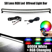 52inch 5d Rgb Led Curved Light Bar Offroad Wireless Bluetooth + Free Wiring Kits