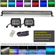 42 Offroad Led Light Bar + 4 Pods Rgb Halo Chasing For Atv Suv Truck Jeep Ford