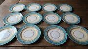 Set Of 12 Aynsley Aqua Blue 7611 Bread And Butter Plate 6.25