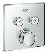 Grohe Smartcontrol Concealed Thermostat For Shower 158mm 2-button Square Chrome
