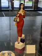 Exclusive Russian Imperial Lomonosov Porcelain Sculpture Lady With Dog Traveler