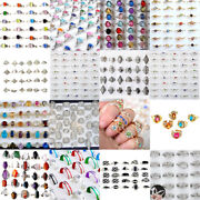 100pcs Mixed Wholesale Lots Silver Women Kids Rings Costume Jewelry Gift Vintage