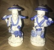 Fine Blue And White Porcelain Figurines Of Japanese Fisherman And Clam Digging Wife