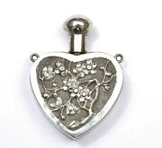 1900and039s Chinese Solid Silver Repousse Perfume Scent Bottle Pendant Plum Flower