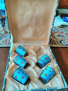 Vintage Russian Blue And Red Enamel Shot Glass Set Of 5 With Box