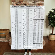 Laminated Large Tap Die Chart Drill Size Decimal Equivalents Wall Poster Print