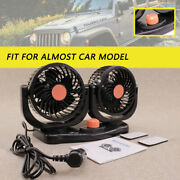24v Dual Head Car Fan Portable 360° Rotatable Vehicle Truck Auto Cooling Cooler