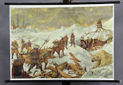 Pull-down Vintage Wall Chart Poster Expedition Arctic Nursery Ice Snow Hunting