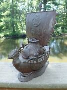 Antique Chinese Censer Cast Iron Armored Rooster Figural Chicken Junk Boat Ship
