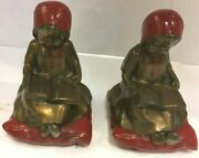 Pair Of Antique Metal Kronheim And Oldenbusch 6 Little Red Riding Hood Book Ends