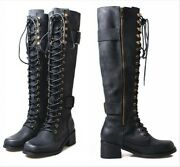 Ladies Knee High Mid Calf Lace Up Biker Punk Military Combat Boots Shoes Leather