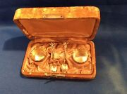 Campbell-metcalf Sterling Silver Pair Salts And Spoons In Original Leather Case.