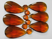 6 Rare Vintage Amber Glass Double Pointed Crystal Prisms, Nos, 4 1/4 Long