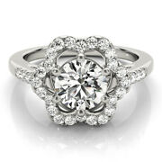 Round Cut Forever One Moissanite Floral Halo Engagement Ring 14k White Gold