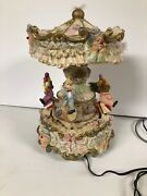 Rare Carousel Musical Animated Clown Ever Glow Merry-go-round Fiber Optic As Is