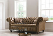 Bespoke Chester Vintage Tan Leather Button Back Seat Sofa Chesterfield Rrp Andpound2199