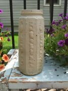 Warren Mackenzie Lg Faceted Pottery Vase W Textured Surface Decoration Stamped