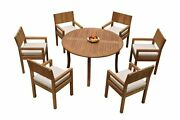 Dsvr A-grade Teak 7pc Dining Set 52 Round Table 6 Arm Chairs Outdoor Patio