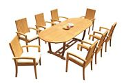 Dsgo A-grade Teak 9pc Dining Set 94 Mas Oval Table Stackng Arm Chairs Outdoor