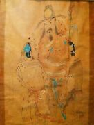 Chinese Characters. Drawing. Ink And Color On Paper. Japan Principle Xxth