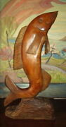 Gorgeous Large Hand Carved Hardwood Fish Statue /sculpture /26
