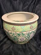Chinese Export Hand Enameled Ceramic Planter Pot Bowl Florals 11andrdquox14andrdquo 12lbs