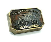 Rare Original Authorized 1973 Wells Fargo And Co Wagon Brass Paper Weight Bd158